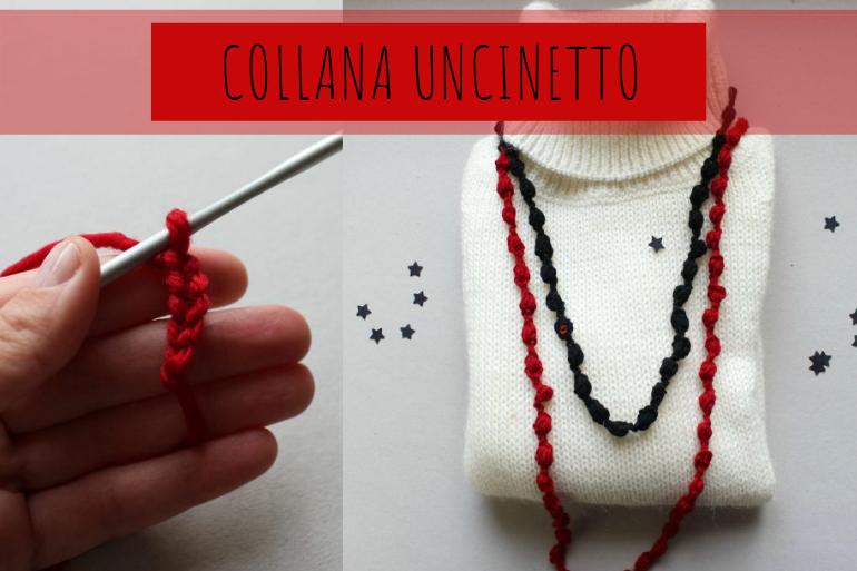 tutorial collana crochet rossa e nera