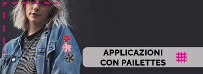Applicazioni con Pailettes, utili sia come decorazione, che come toppe adesive per rammendare indumenti.