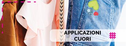 Applicazioni Cuori, utili sia come decorazione, che come toppe adesive per rammendare indumenti.