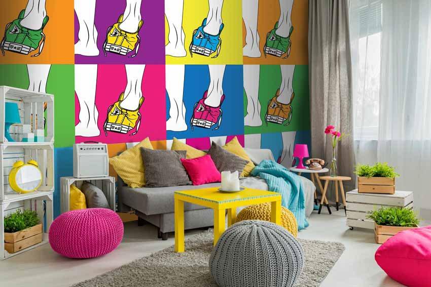 Arredamento Stile Pop Art : Come arredare casa con tessuti pop panini tessuti e tendaggi