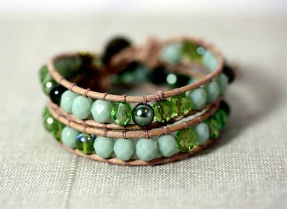 bracciale pietre perle verdi