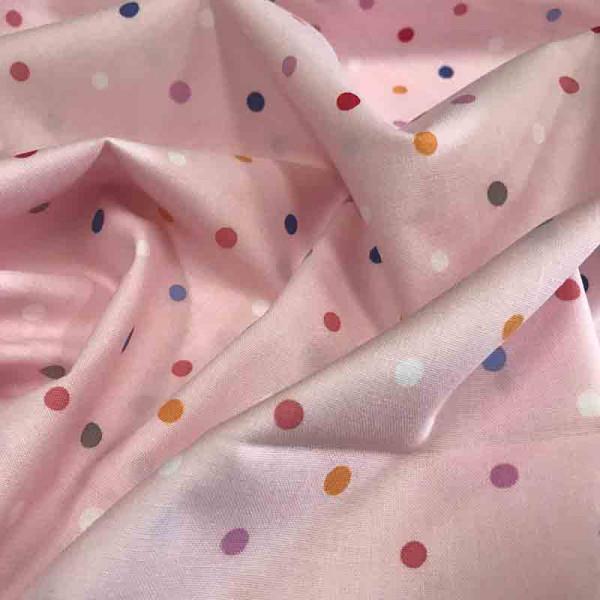 tessuto rosa pois