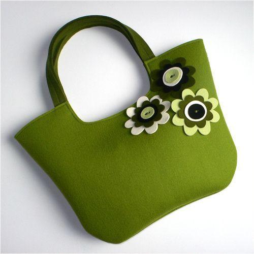 borsa pannolenci verde fatta a mano
