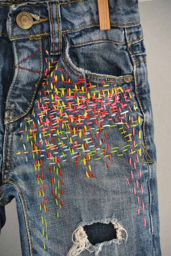 jeans denim effetto invecchiato