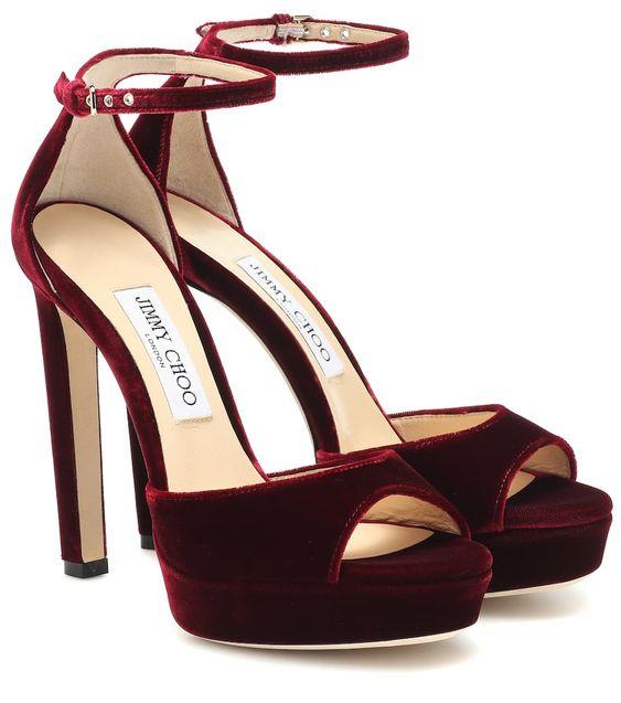 sandali donna velluto rosso