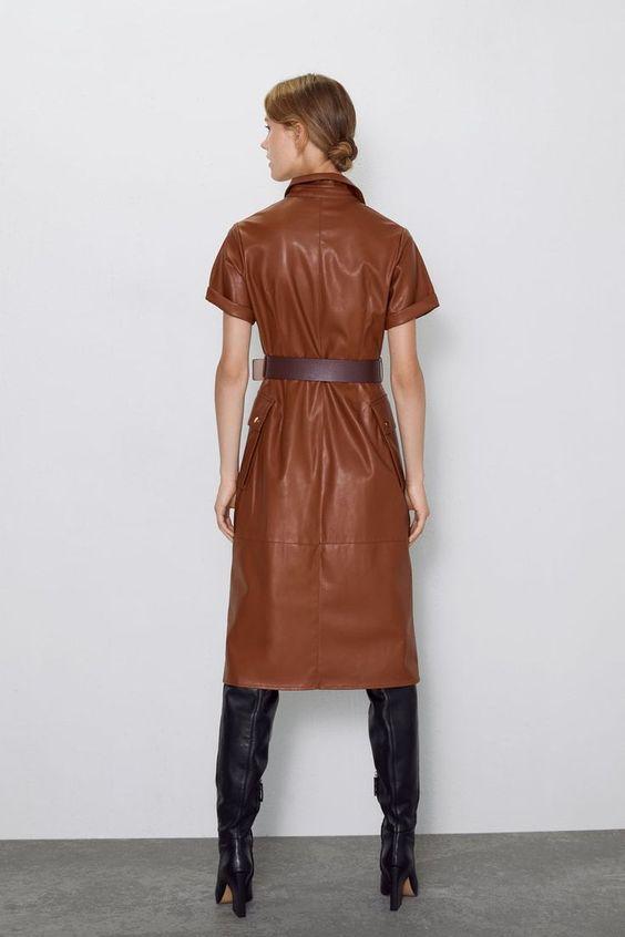 vestito donna ecopelle marrone
