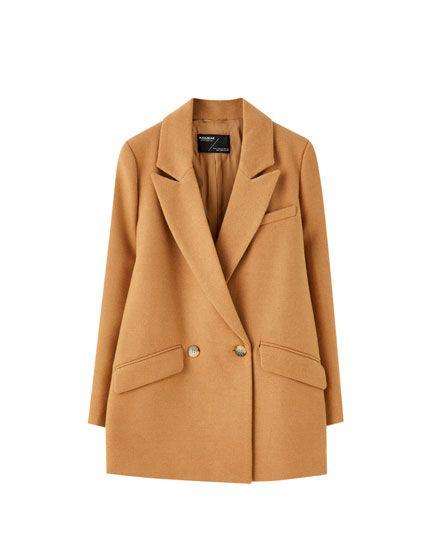 cappotto beige cammello pull & bear