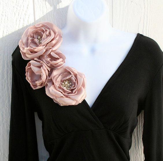 applicazioni fiori di tessuto rosa