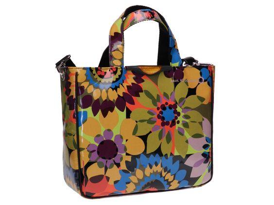 borsa da donna finta pelle fantasia fiori colorati