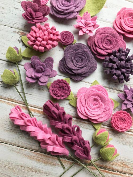 fiori di tessuto feltro fai da te cucito facile