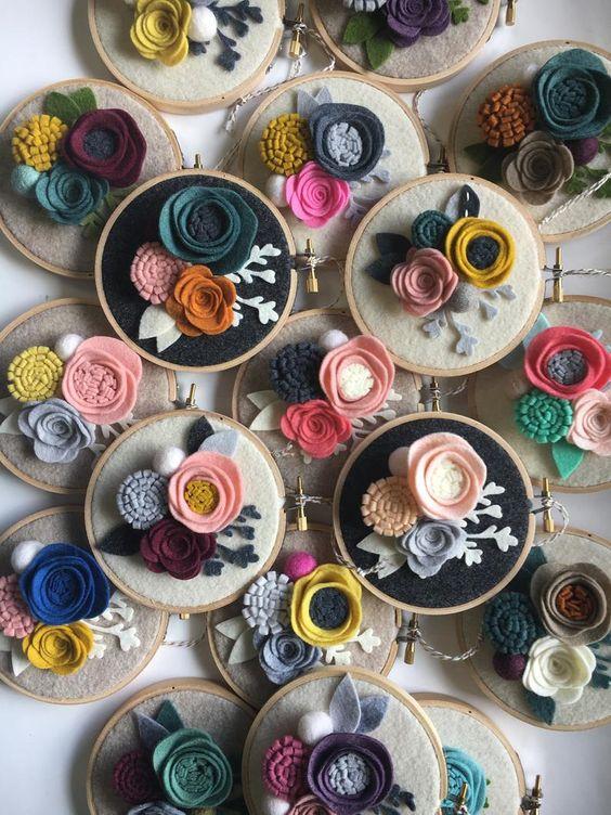 idea telaio da ricamo homedecor decorazione da parete fiori di feltro