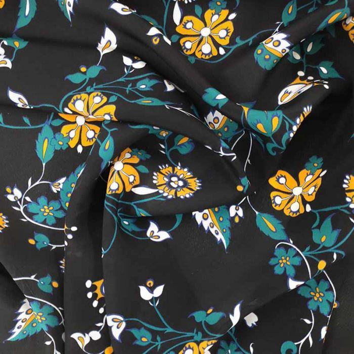 tessuto seta fiori gialli fondo nero