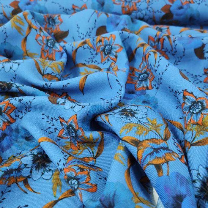 tessuto viscosa azzuro fantasia floreale foglie gialle