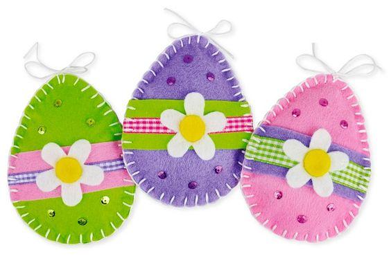 uova decorative di feltro lavoretti bambini di pasqua