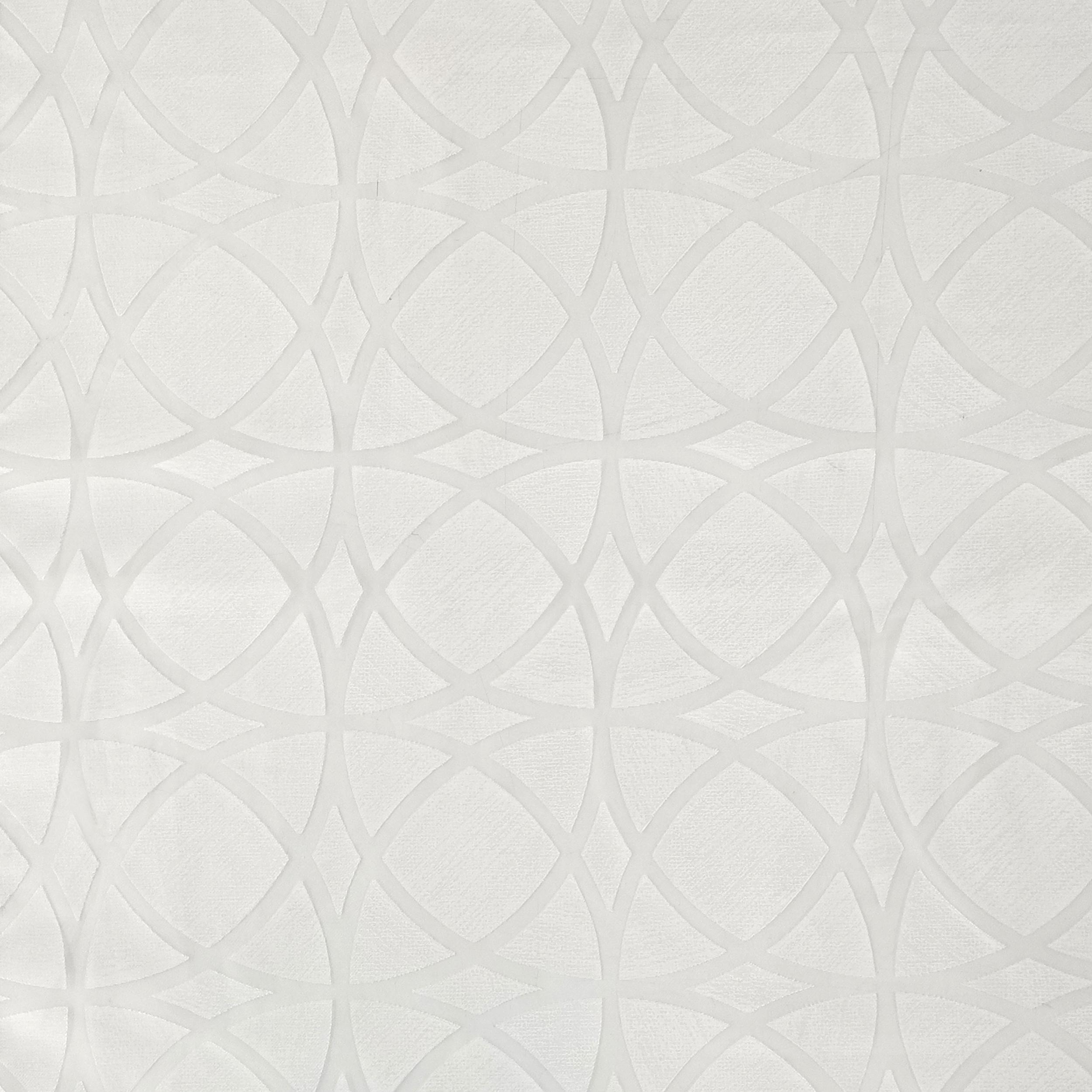 Tessuto Tendino Devorè Geometrico Bianco