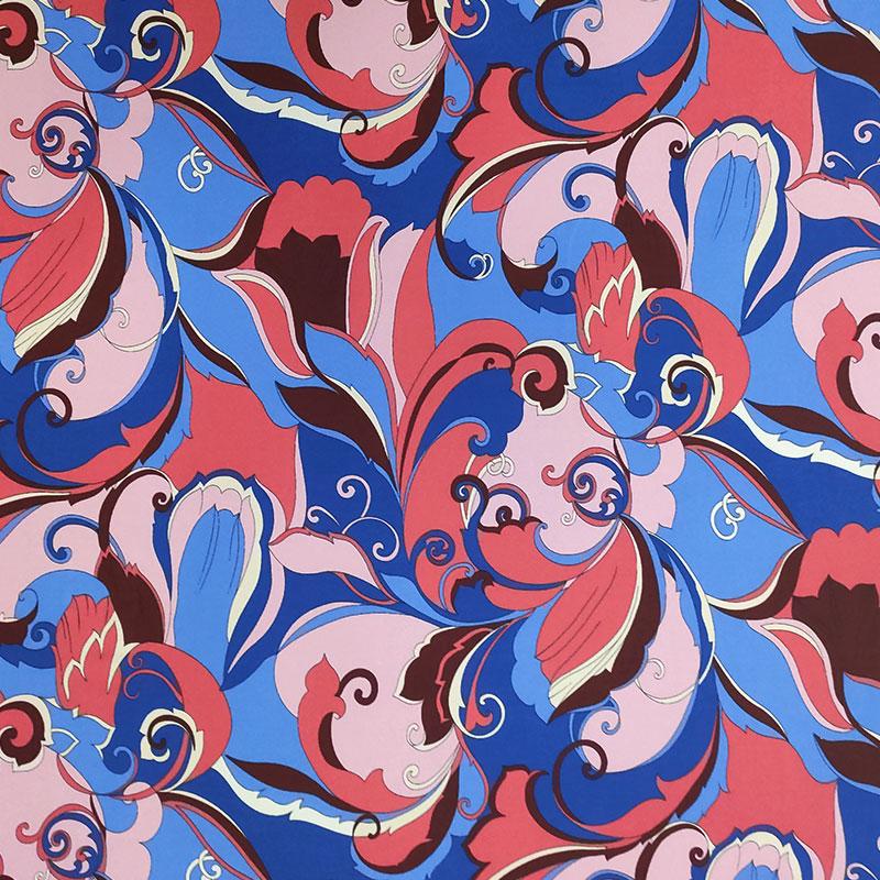 Tessuto Jersey Fantasia Rosa e Azzurro
