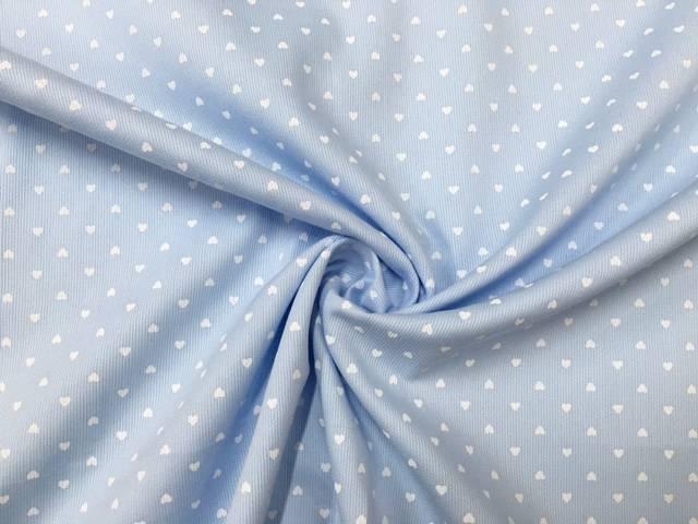 Tessuto Cotone Piquet Azzurro con Cuoricini
