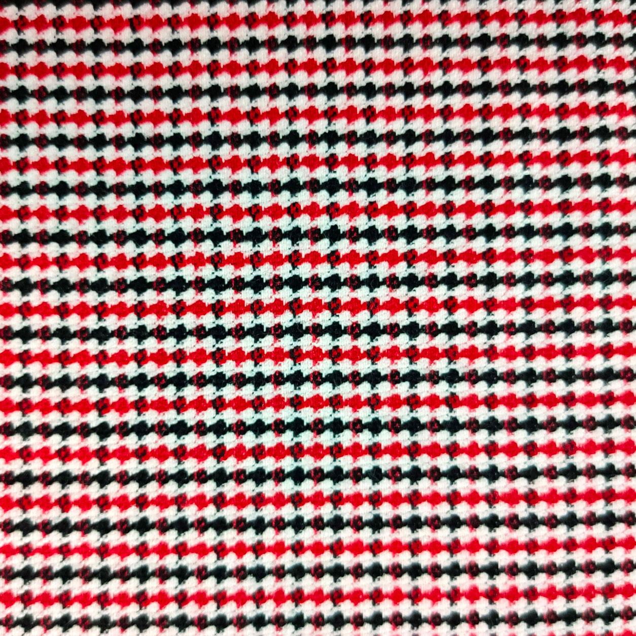 Tessuto Mini Pied de Poule Bianco Rosso e Nero