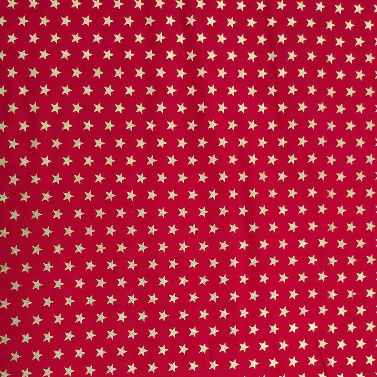 Tessuto Cotone Stelle Lurex Oro Sfondo Rosso