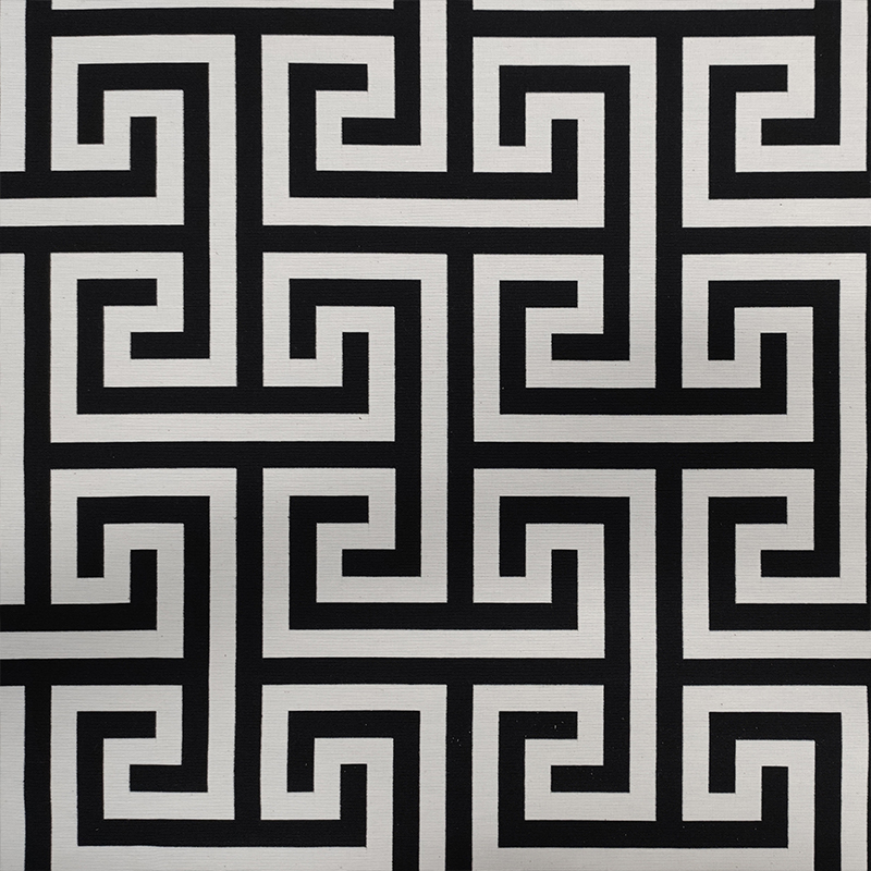 Tessuto Jacquard Geometria Greca Bianco e Nero