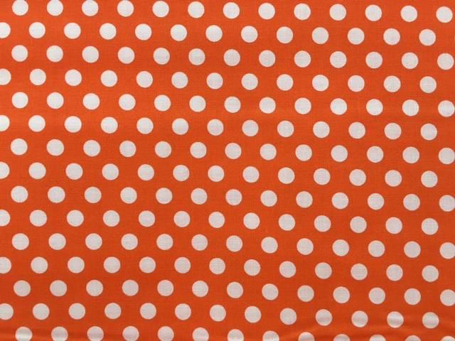 Tessuto Cotone Arancione a Pois Grandi