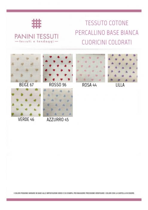 Tessuto Cotone Percallino con Cuoricini Colorati