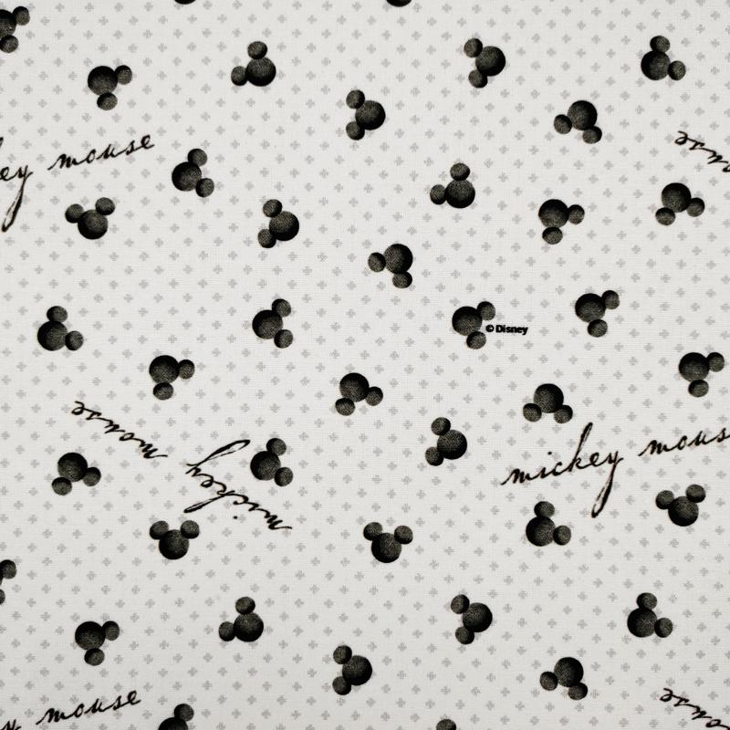 Tessuto Cotone Disney Mickey Mouse Black and White