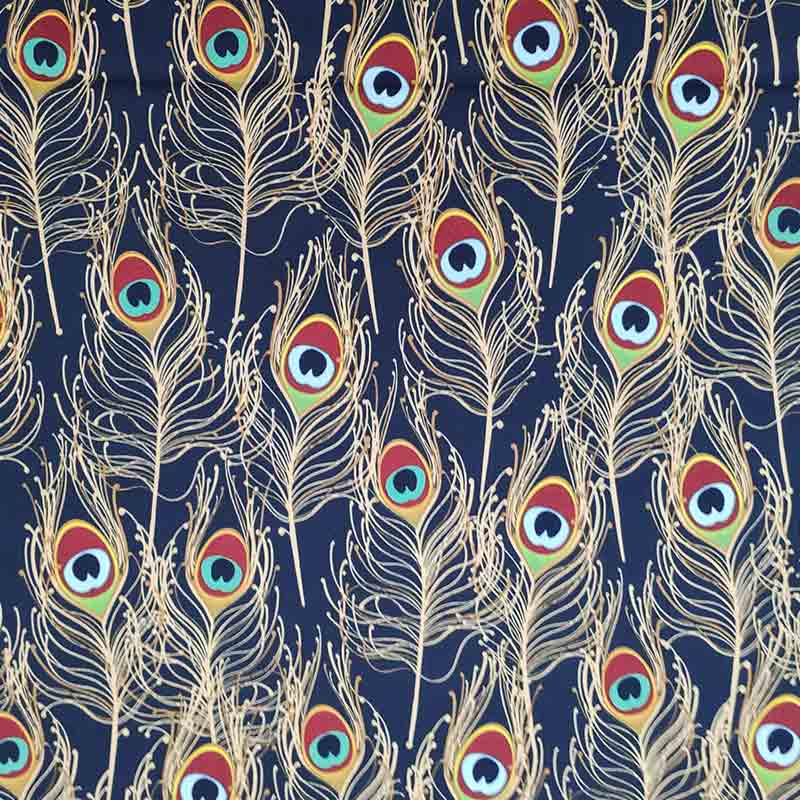 Tessuto Gutermann Piume di Pavone Sfondo Blu
