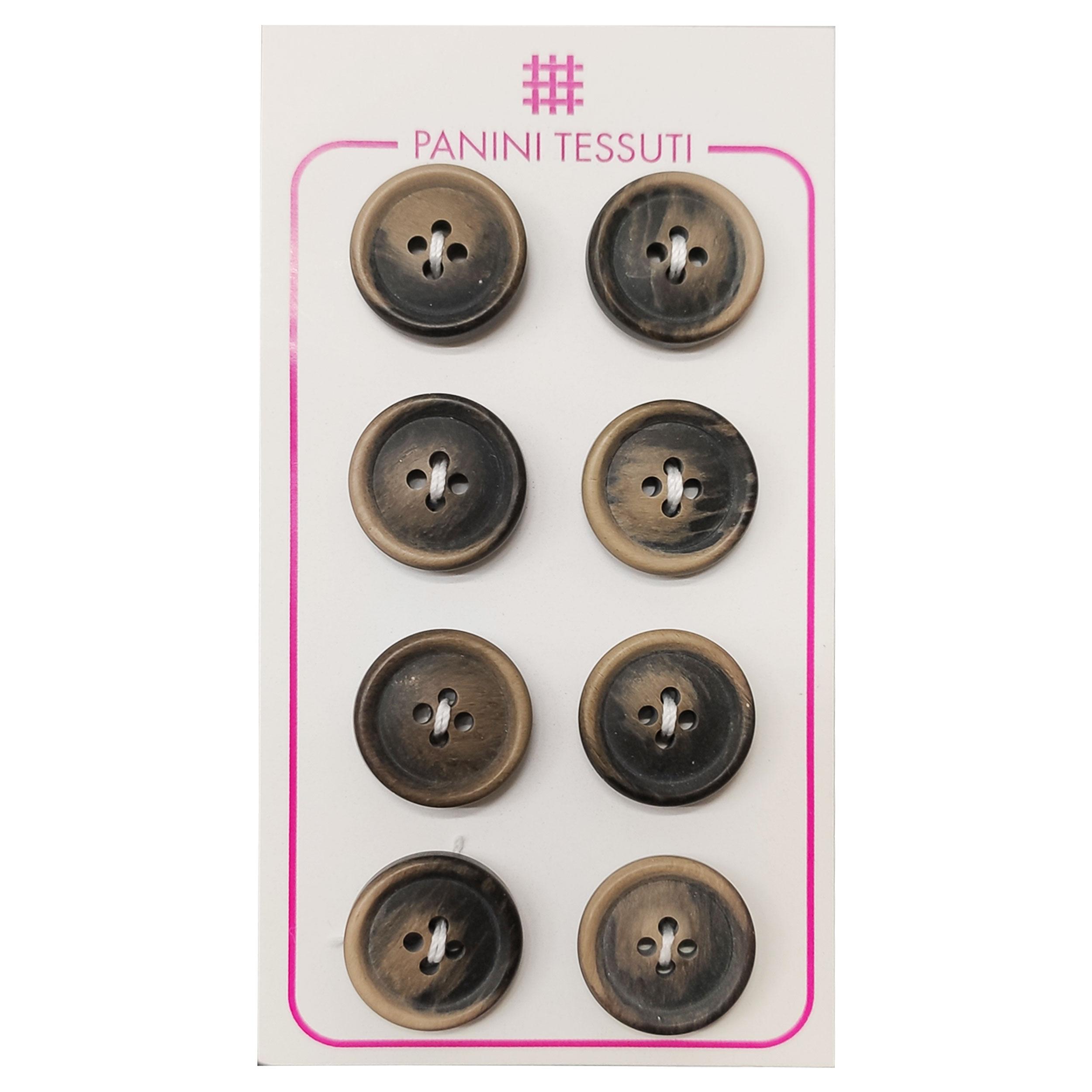 Bottoni Opachi Melange Color Marrone 8 Pezzi - Lin 24
