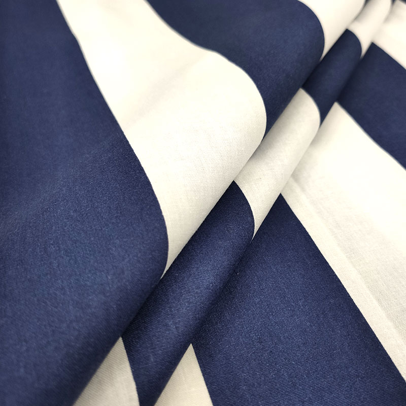 Tessuto di Cotone Righe Larghe Blu