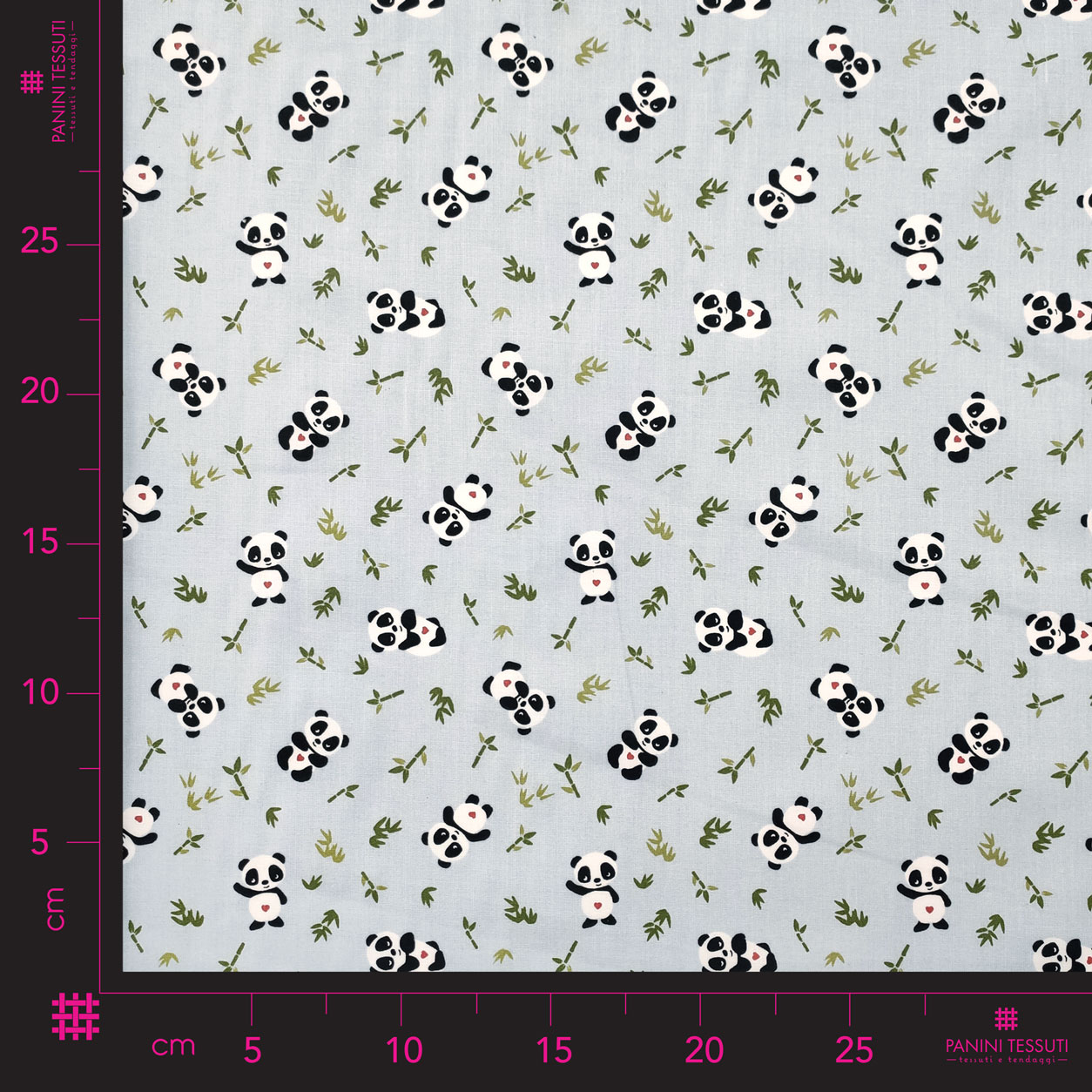Tessuto di Cotone Panda Innamorato e Bamboo