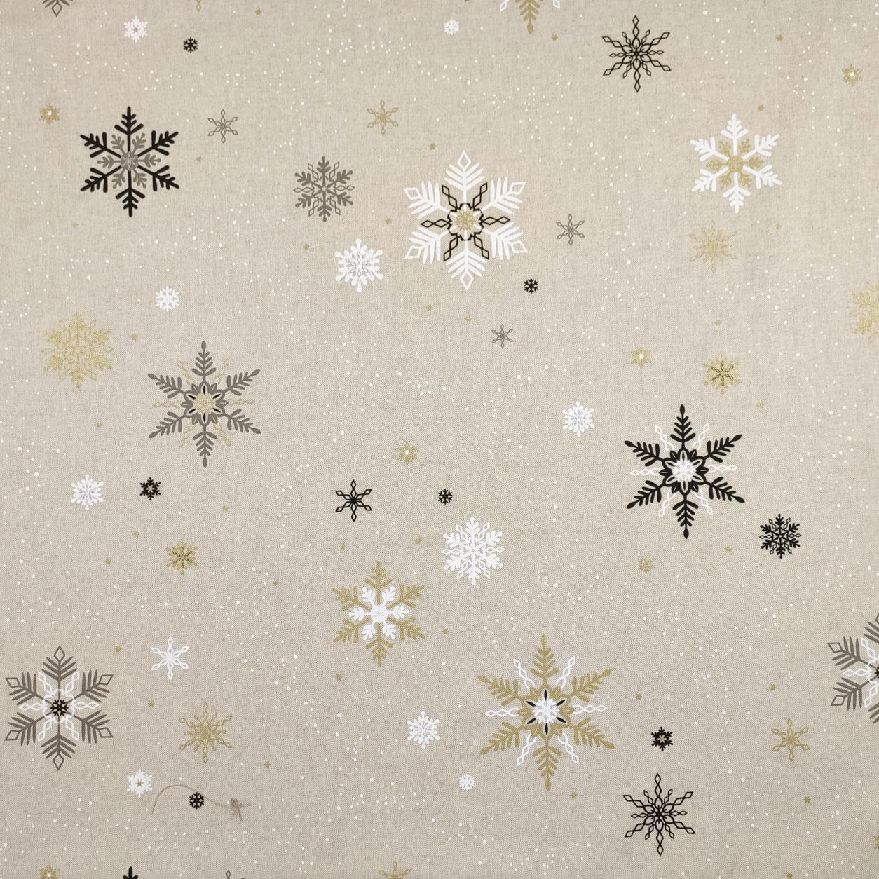 Tessuto Misto Cotone Panama Fiocchi di Neve Colorati