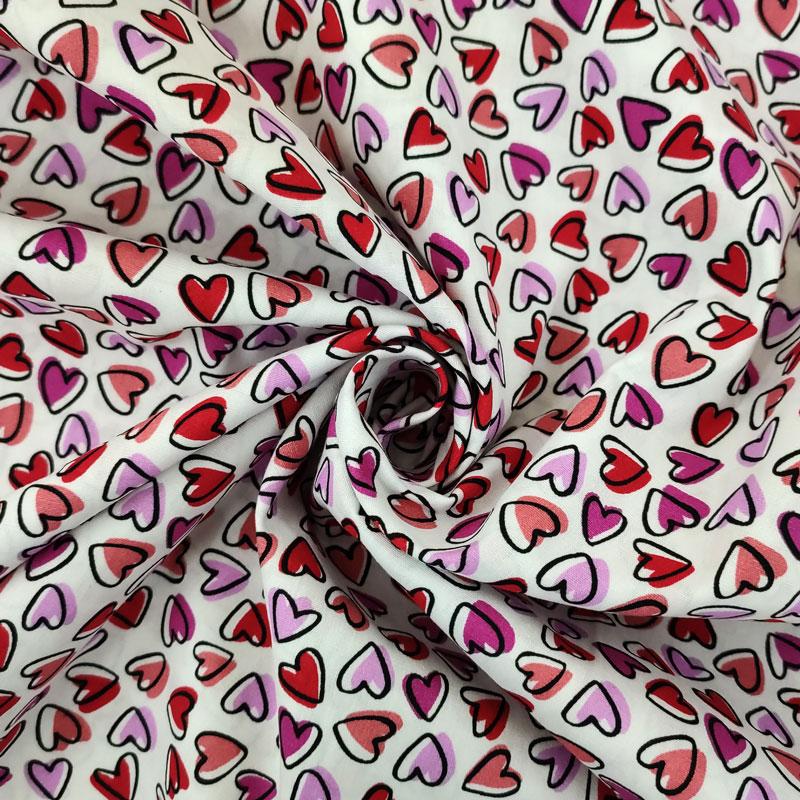 Tessuto Cotone Natural Cuoricini Multicolor