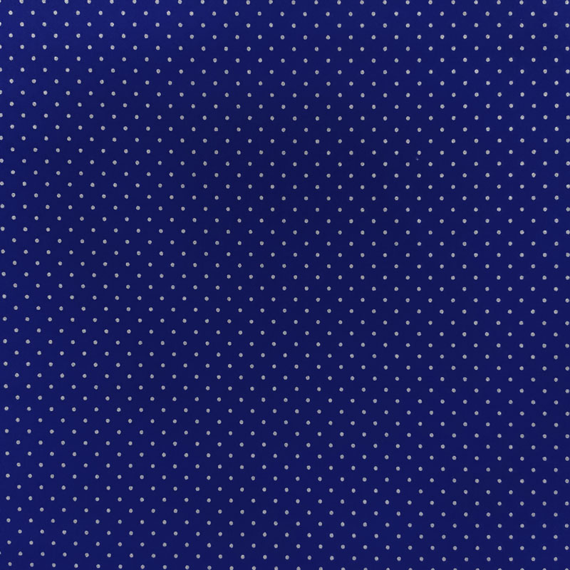 Tessuto Cotone Bluette a Pois Argento