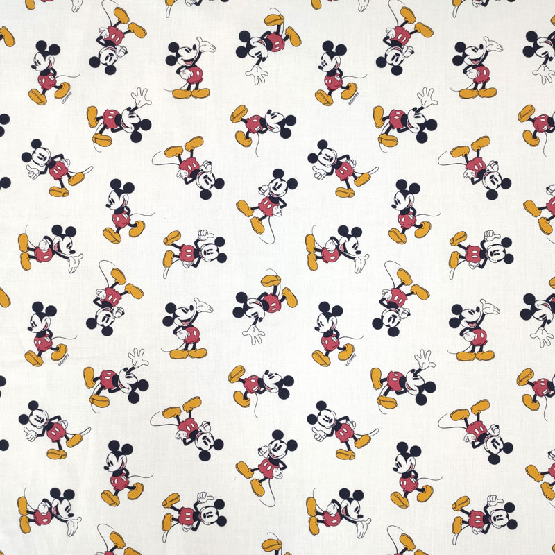 Ritaglio Tessuto Cotone Disney Mickey Mouse Vintage 50x150 cm