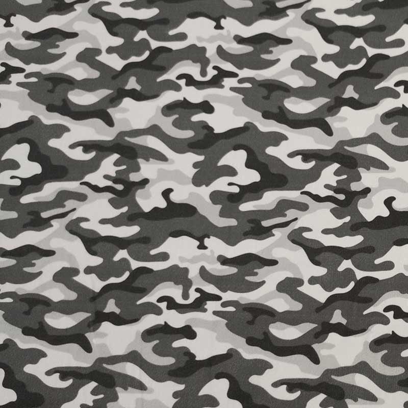 Rasatello di Cotone Leggero Fantasia Militare in Grigio