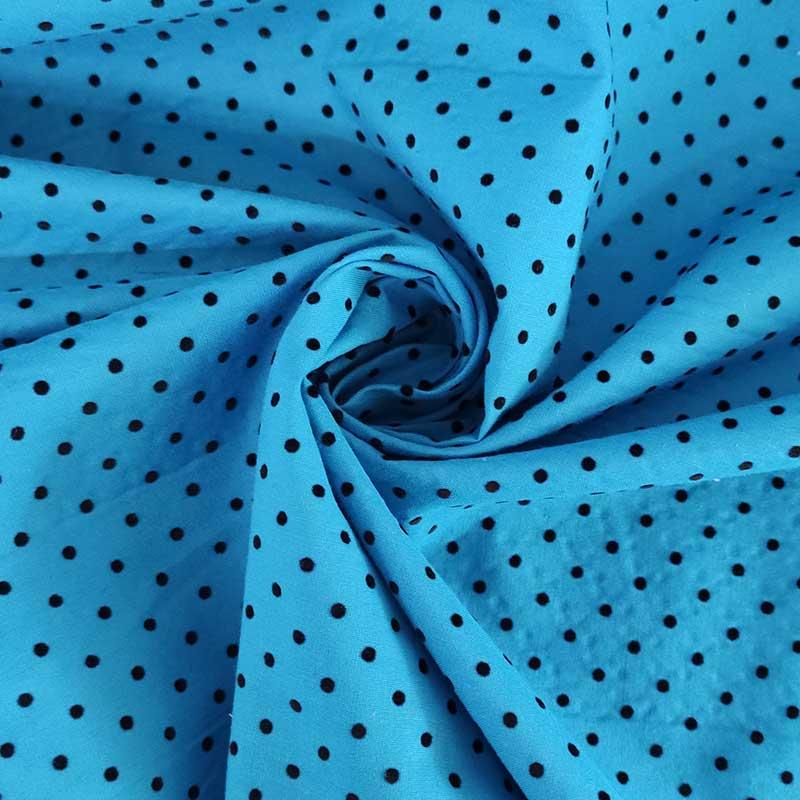 Tessuto Cotone Floccato Ciano Pois Neri