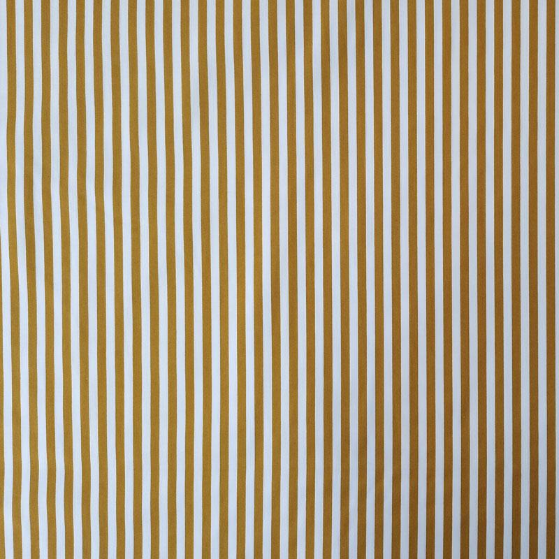 Ritaglio Tessuto Cotone Natural Righe Bianche e Senape 50x140 cm