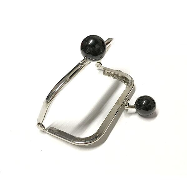 Click Clack Rettangolare Argento 8,5 cm con Perle