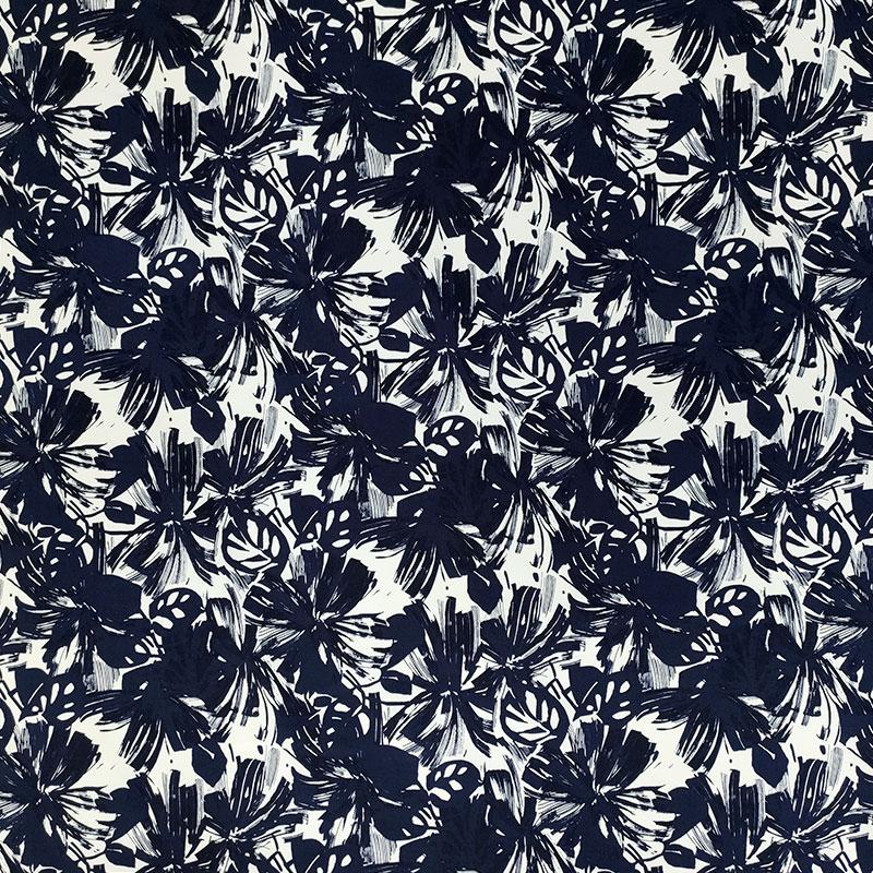 Tessuto Cotone Elasticizzato Moda Bianco e Blu