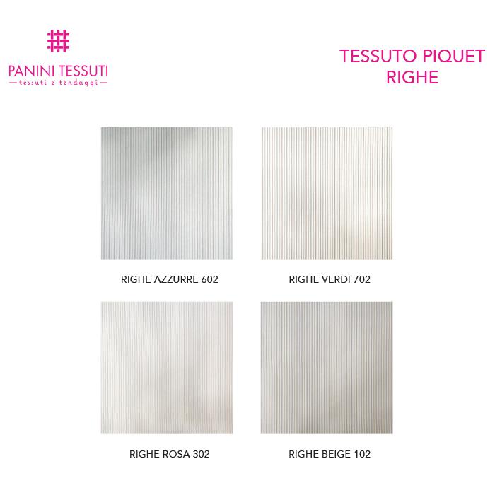Tessuto Piquet di Cotone Fantasia Righe