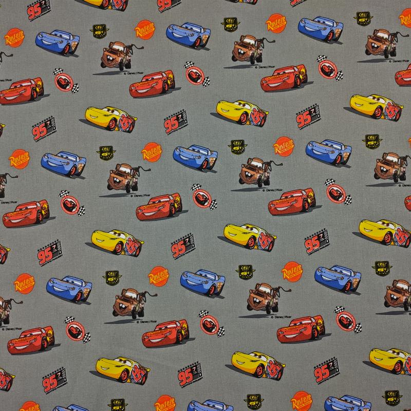 Tessuto Cotone Disney Cars Grigio