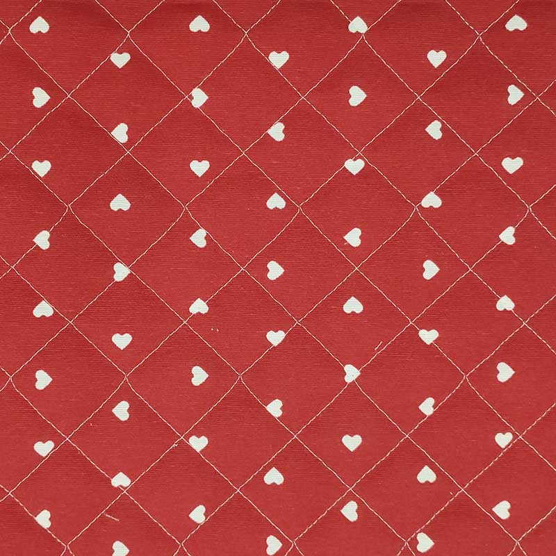 Tessuto Trapuntato Cuori Bianchi Sfondo Rosso