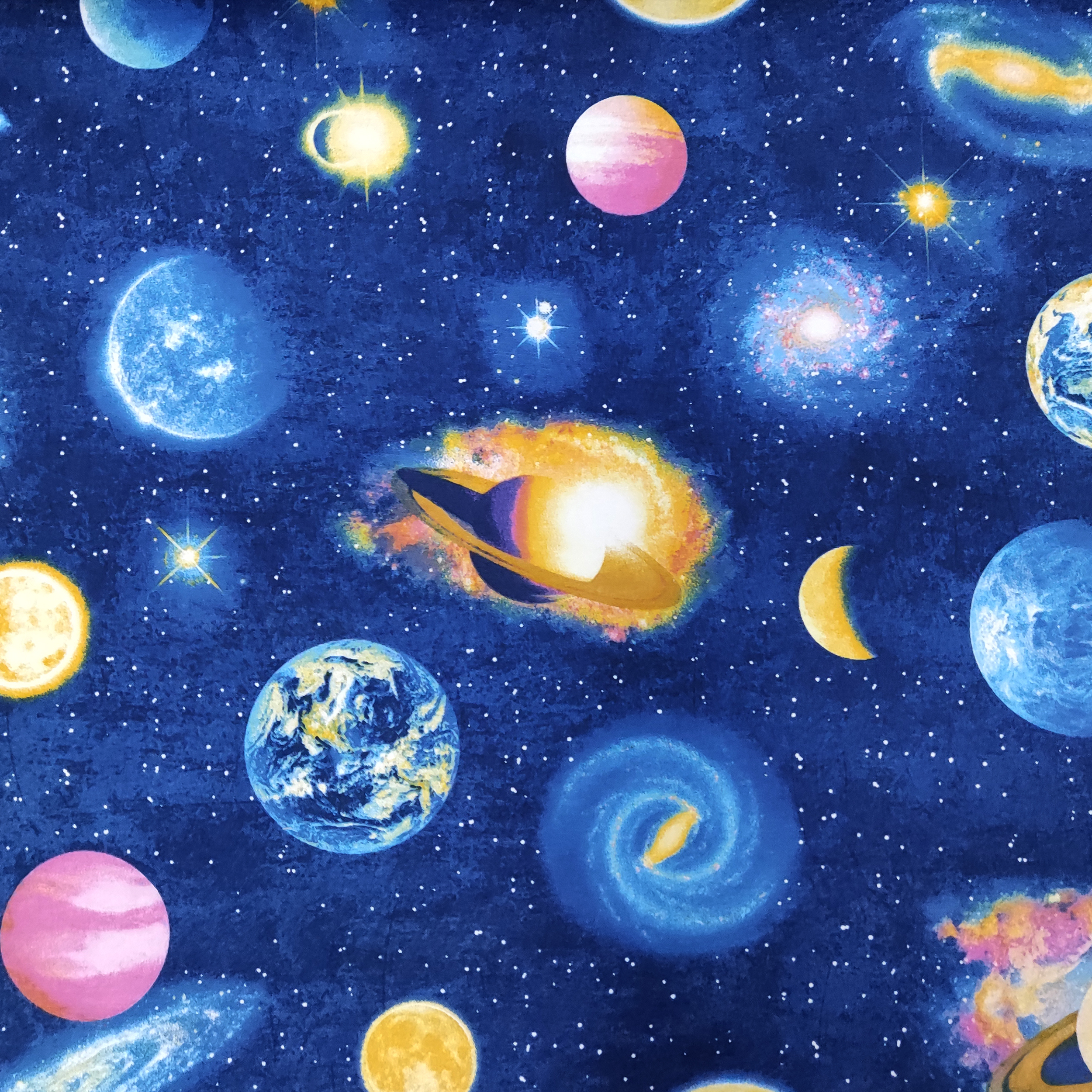 Tessuto-Misto-Cotone-Fantasia-Sistema-Solare