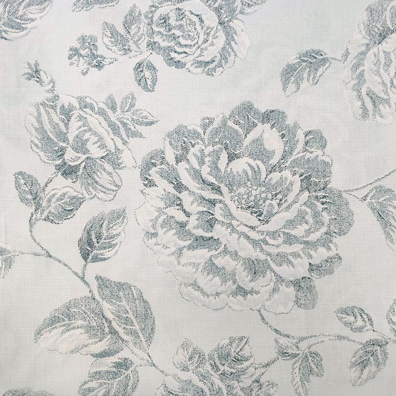 Tessuto di Cotone Rose Disegnate Turchese