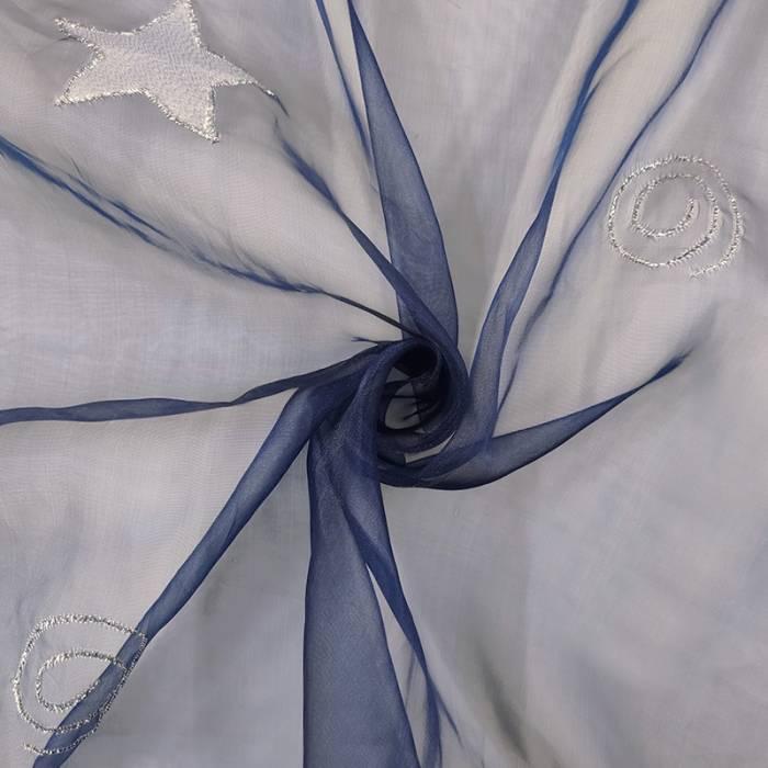 Organza Spirali e Stelle Lurex Sfondo Blu