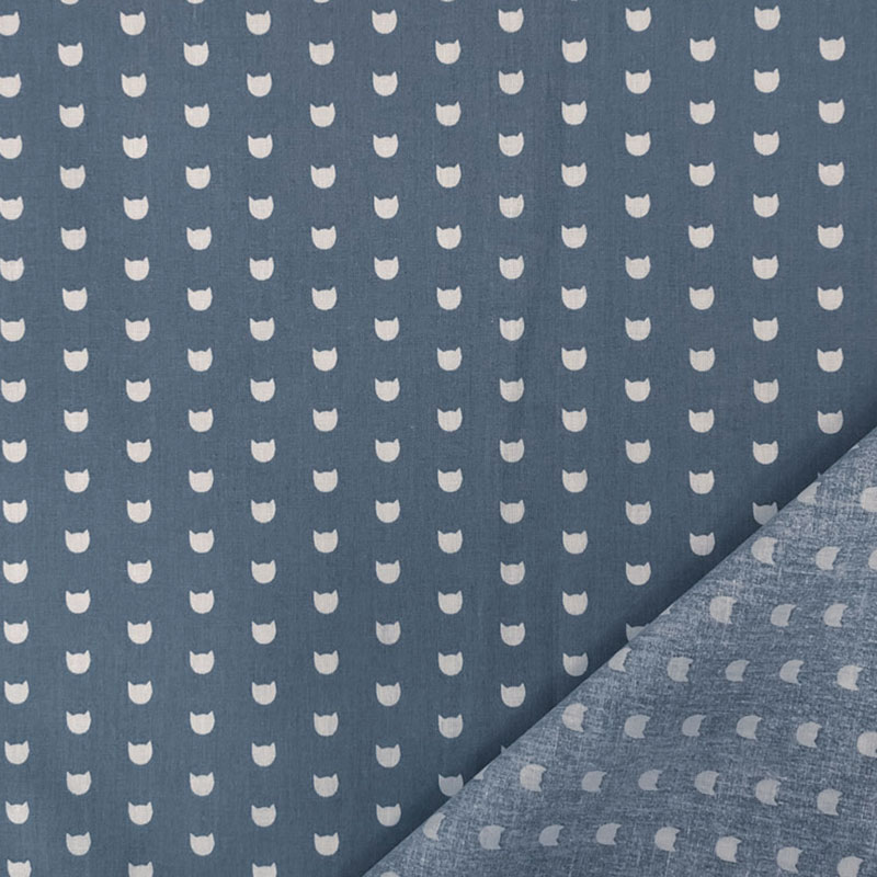 Rasatello Cotone Gattini Bianchi Sfondo Azzurro