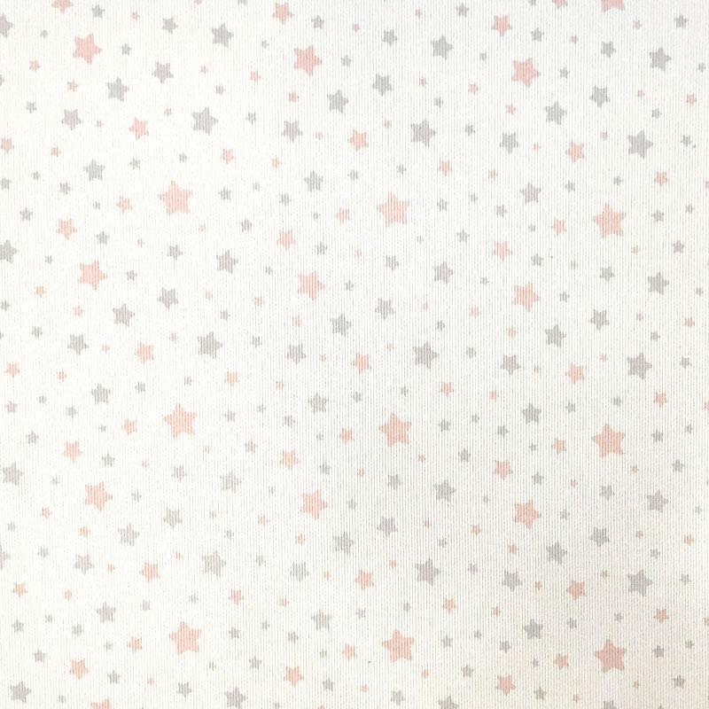 Tessuto Piquet di Cotone Fantasia Stelline Rosa