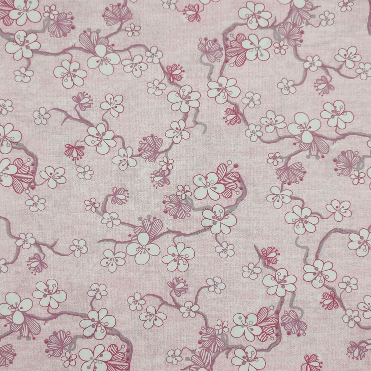 Tessuto Cotone Fantasia Fiori e Rami Sfondo Rosa