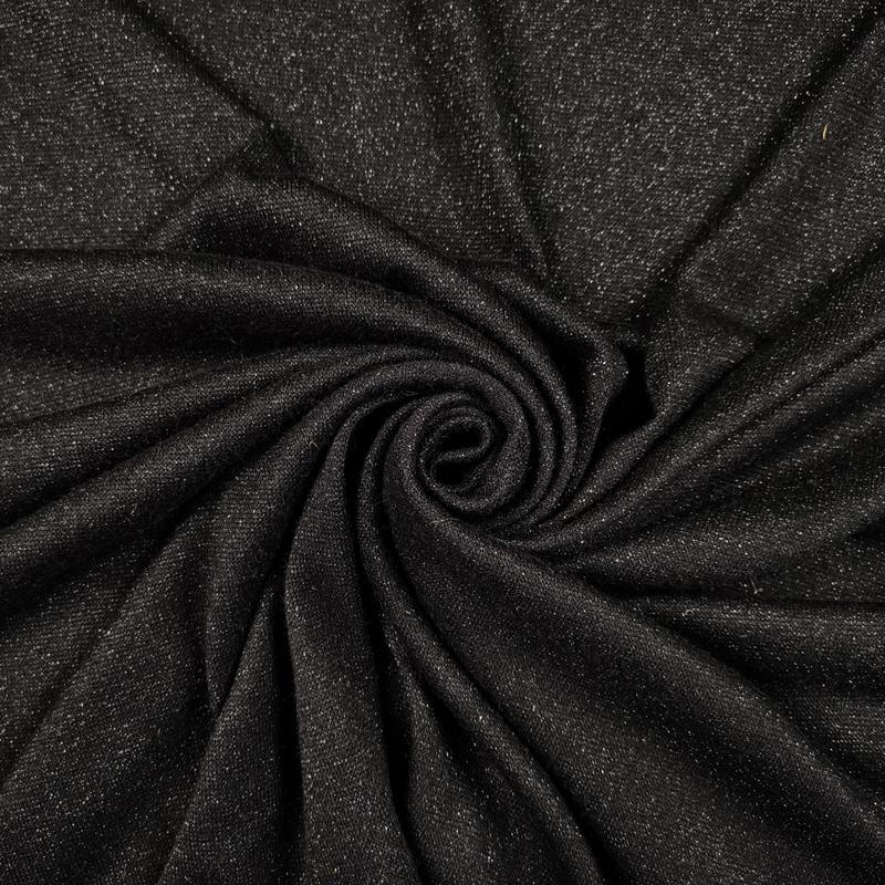 Tessuto Jersey Tinta Unita con Lurex Nero